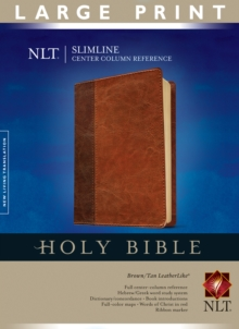 Slimline Center Column Reference Bible-NLT-Large Print, Leather / fine binding Book