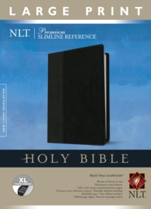 Premium Slimline Reference Bible NLT, Large Print, TuTone (Red Letter, LeatherLike, Black/Onyx, Indexed), Leather / fine binding Book