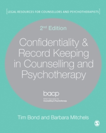 Confidentiality & Record Keeping in Counselling & Psychotherapy, Hardback Book