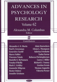 Advances in Psychology Research : Volume 62, Hardback Book