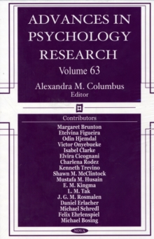Advances in Psychology Research : Volume 63, Hardback Book