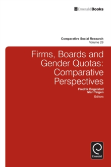 Firms, Boards and Gender Quotas : Comparative Perspectives, Hardback Book