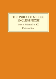Index of Middle English Prose: Index to Volumes I to XX, Hardback Book