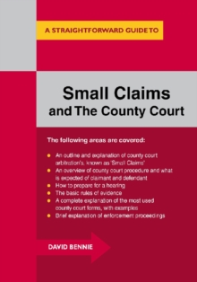 A Straightforward Guide to Small Claims and the County Court : A Complete Guide to Making a Claim in the County Court, Paperback Book