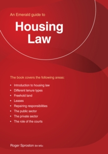 Housing Law : An Emerald Guide, Paperback / softback Book