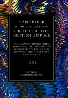 Handbook to the Most Excellent Order of the British Empire(1921), Hardback Book