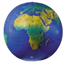 "27"" Dark Blue Topographical Inflatable Globe, Globe Book"