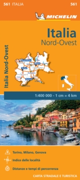 Italy North West Map, Sheet map, folded Book