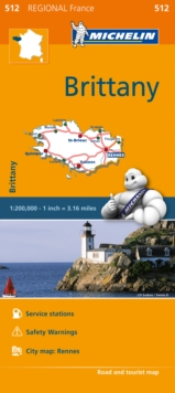 Brittany (Bretagne) Map 512 : Michelin Regional Maps: France, Sheet map, folded Book