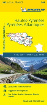 Hautes-Pyrenees, Pyrenees-Atlantiques, France Local Map 342, Sheet map, folded Book