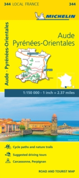Aude, Pyrenees-Orientales - Michelin Local Map 344 : Map, Sheet map Book